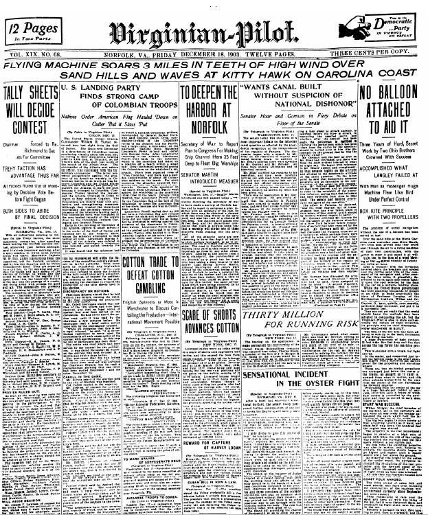 Virginia Pilot Story: December 18, 1903