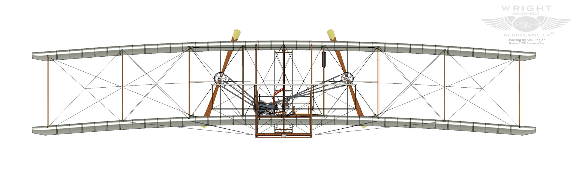 Isometric front view of 1903 wright flyer